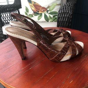 Isaac Mizrahi for Target Brown Faux Croc Kate Heel